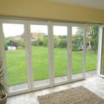 A view onto the garden with uPVC sliding folding doors