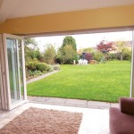 View onto the garden with wide span of bifolding doors